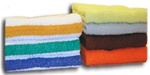 Terry bath towels, economy, solid and color stripe