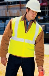 Safety vest combines reflective taping with a fluorescent body color for high visibility, Non-ANSI