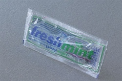 Fluoride toothpaste, single use clear pouch